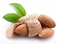 9248002 group of almond nuts with leaves isolated on a white background